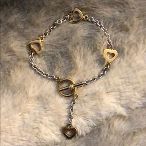 Gold and Silver Heart Chain Bracelet.